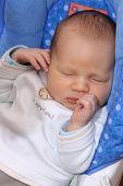 Newborn baby sleeping in baby swing . Two weeks old baby