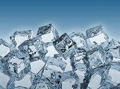 3D render of ice cubes.