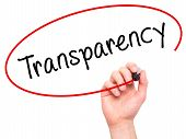 Man Hand Writing Transparency With Marker On Transparent Wipe Board poster