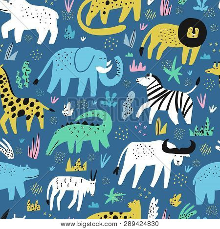 poster of African Animals Flat Hand Drawn Color Seamless Pattern. Cute Jungle Creatures Cartoon Characters. Ra