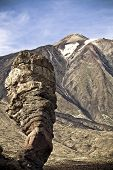 Odd vertical rock near Teide Volcano in Tenerife, Spain.