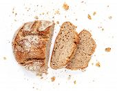 Sliced Bread Isolated On  White Background. Crumbs And Fresh Bread Slices Close Up. Bakery, Food Con poster