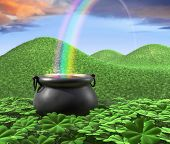 picture of end rainbow  - A pot at the end of the rainbow shown surounded by a lucky clover garden and roling hills of grass in the background - JPG