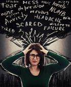 Desperate Woman Having Anxiety And Headache, Mental Health Problems, Distress Depression Feeling. Sc poster