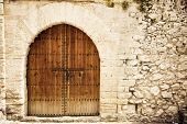 image of wooden door  - Old wooden door from medieval era - JPG