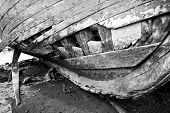 Keel of a run aground wooden ship.