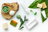 Herbal Organic Cosmetic Set For Homemade Spa On White Background Flatlay poster