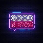 Good News Neon Sign Vector. Good News Design Template Neon Signboard, Light Banner, Neon Signboard,  poster
