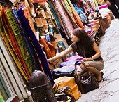 Woman shopping in muslim styled market