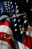 American Judicial Branch Of Government - Scales and US Flag.