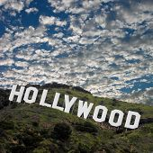 The famous Hollywood Sign high atop the Los Angeles foothills. Image is square.
