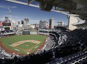 Panoramic of San Diego's Petco Park ballpark from the top row