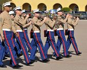 Members of the United States Marine Corps marching band at a ceremony at MCRD, San Diego on January
