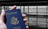 Tourism and travel - passport and black and white airport