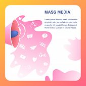 Mass Media Website Vector Color Flat Template. Broadcast Media. Digital Media Landing Page. Televisi poster