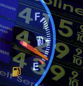 Empty fuel tank and high gasoline prices - escalating costs in the summer of 2008
