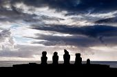 Five Moai In Silhouette In Easter Island