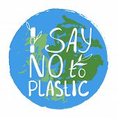 Say No To Plastice Text With Bamboo Sprout On Abstract Green Blue Background. Sign Around Circle Vec poster