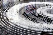 Wall Street Abstraction - water ripples fanning out atop newspaper headlines about investor fear and
