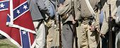VISTA, CA - MARCH 7: Details of â??Confederateâ?? soldier uniforms and flag at a Civil War reenactme