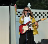 SAN MARCOS, CA - MAY 30: Lead guitarist of the group 'The Corvettes' performs at Woodland Park on Ma