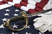 Marine Corps - symbols of freedom -  sabre, white gloves, and flag