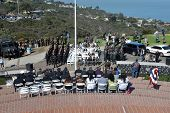 LA JOLLA, CA - OCTOBER 16: a ceremony honoring fallen soldier and police officer Federico Borjas on