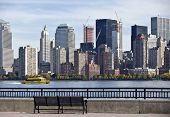 LIBERTY PARK, NEW JERSEY,  - OCTOBER 25: View of Manhattan and waterfront from Liberty Park on Octob