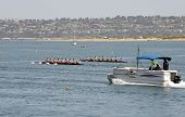 SAN DIEGO, CALIFORNIA - MARCH 27: Crew members race at the 37th Annual San Diego Crew Classic Rowing