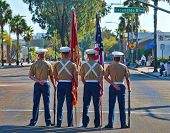 ESCONDIDO, CA - SEP 11:United States Marine Corps colorguard participate in the Grape Day Parade in