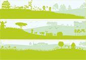 3 grüne Landschaften