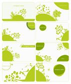 set of 8 business cards on green little planet earth theme