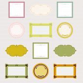 collection of design frames and label