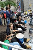MANHATTAN, NY - SEPT. 18: People playing drums in Zuccotti Park as part of the 'Occupy New York' Pro