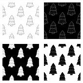 Cute Cartoon Hand Drawn Christmas Tree Pattern Collection. Sweet Vector Black And White Christmas Tr poster