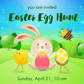 You Are Invited, Easter Egg Hunt Lettering, Rabbit, Bee And Chick. Easter Party Invitation. Handwrit poster