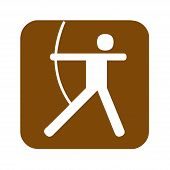 Brown Archery Recreational Sign With A White Background poster