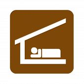 Brown Sleeping Shelter Recreational Sign With A White Background poster