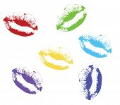 colored kiss lips Vector illustration