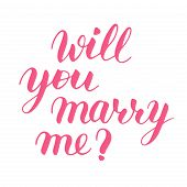 Will You Marry Me Hand Drawn Vector Lettering. Isolated Pink Sign For Propose And Pop The Question W poster