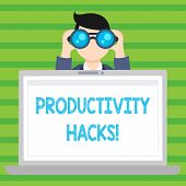 Conceptual Hand Writing Showing Productivity Hacks. Business Photo Text Hacking Solution Method Tips poster
