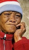 Old African woman with characterful face