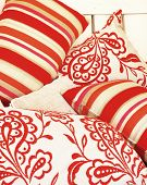 Red and white cushions