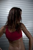 Close Up On Sweating Woman After Workout