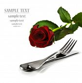a Beautiful red  rose with a setting with knife and fork on a pure white background with space for t