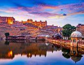 Amber Fort And Maota Lake, Jaipur, Rajasthan, India poster