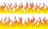 Cartoon Fire Flame Frame Borders. Seamless Orange Fire Border poster
