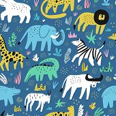 African Animals Flat Hand Drawn Color Seamless Pattern. Cute Jungle Creatures Cartoon Characters. Ra poster