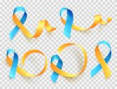 World Down Syndrome Day. March 21. Realistic Blue Yellow Ribbon Symbol Set. Template For Poster. Vec poster