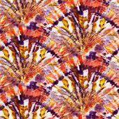 Multicolor Seamless Tie-dye Pattern On White Silk. Hand Painting Fabrics - Nodular Batik. Shibori Dy poster